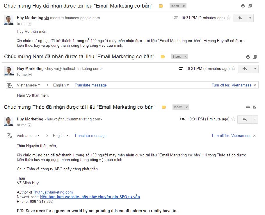 Cá nhân hóa email marketing để không bị nhầm là spam (5)