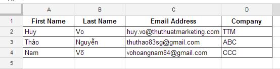 Tạo danh sách liên lạc